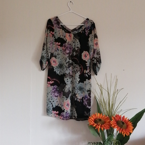 Mexx classy sheer floral short sleeved career dres